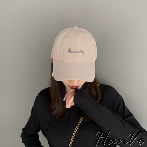 【HanVo】小清新簡約字母老帽 男女可戴可調式老帽 防曬遮陽 韓系個性棒球帽 女生配件女生衣著 8127