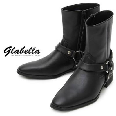 ブーツ メンズ ショートブーツ フェイク スウェード スエード ミドルカット ウエスタンブーツ 靴 くつ(ブラック黒) glbb131