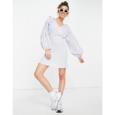 エイソス レディース ワンピース トップス ASOS DESIGN shirred skirt mini wrap front dress in blue gingham Blue/white gingham