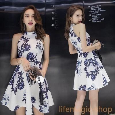 ノースリーブ ワンピース オフショルダー ワンピース ホルターネックドレス セクションドレス 韓国 プリントスカート ノースリーブ prog1548