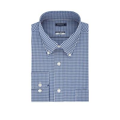 クラウン&アイビー メンズ シャツ トップス Long Sleeve Slim Motion Flex Poplin Gingham Dress Shirt