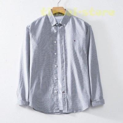 リネンシャツ メンズ 長袖 折り襟 ブラウス カジュアルシャツ ビジネス風 通勤用 刺繍 チェック柄 格子柄 ゆったり シンプル