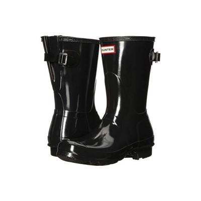 ハンター Original Back Adjustable Short Gloss Rain Boots レディース ブーツ Black