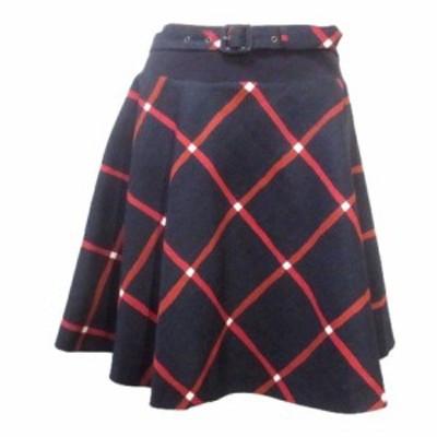 【中古】バーバリーブルーレーベル 紺 ノバチェック スカート ひざ丈 フレア ネイビー ベルト付 36 Sサイズ相当
