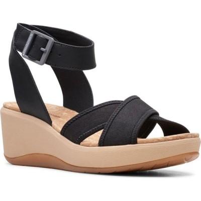 クラークス Clarks レディース サンダル・ミュール ウェッジソール シューズ・靴 Cloudsteppers Step CaliCoast Wedge Sandals Black Canvas