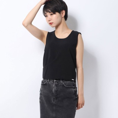 ゲス GUESS ELASTANE WOVEN CROP TOP (JET BLACK)