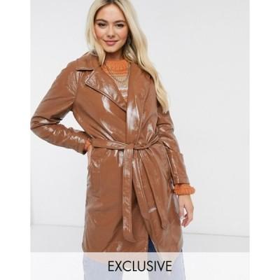 ウェンズデーガール レディース コート アウター Wednesday's Girl belted trench coat in chocolate vinyl