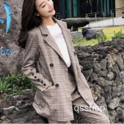 韓国 スーツ パンツスーツ レディース フォーマル セットアップ チェック 大きいサイズ オルチャン y126