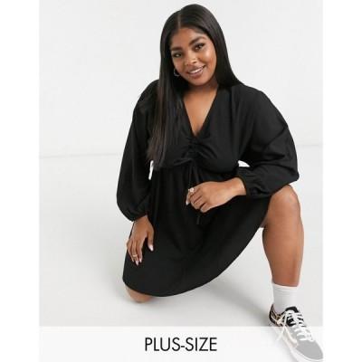ユアーズ Yours レディース ワンピース ミニ丈 ワンピース・ドレス Mini Dress With Ruched Detail In Black ブラック