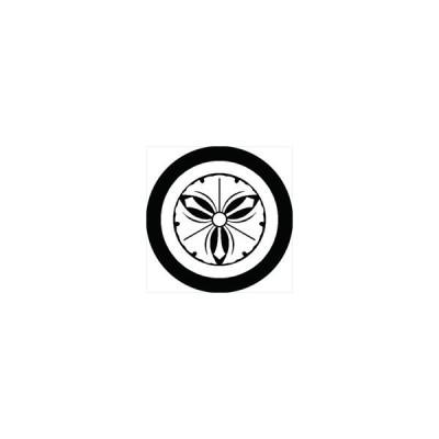 家紋シール 丸に剣三つ銀杏紋 直径15cm 丸型 白紋 KS15M-0518W