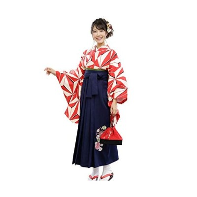 袴セット 二尺袖 袴 4点セット「白地に赤麻の葉 袴紺刺繍」 Lサイズ