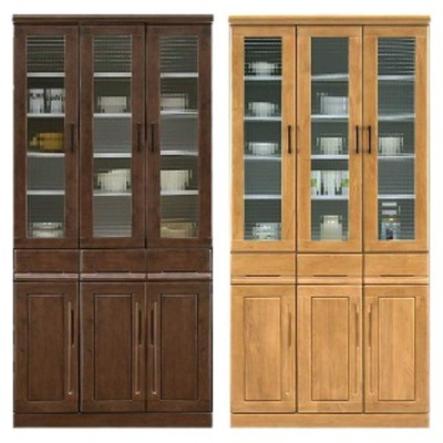 大川家具 食器棚 キッチンボード ダイニングボード 幅90 ハイタイプ キッチン 収納 ガラス 木製 日本製 完成品