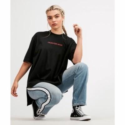 カルバンクライン Calvin Klein Jeans レディース Tシャツ トップス Oversized Branded T-Shirt Black/Red
