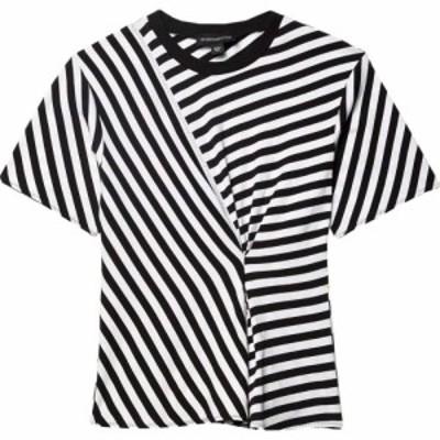 スポーツマックス Sportmax レディース Tシャツ トップス Code Mercerized Cotton Striped Blouse White/Black