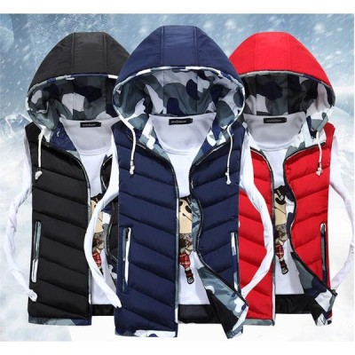 M~5XL ダウンベスト 3色 暖かい フード付き メンズ/レディース 厚手 防寒着 保温 通勤 OL 通学 防風 冬服 迷彩ベスト 中綿アウター スリム カップル 夫婦