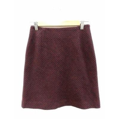 【中古】イネド INED 台形スカート ミニ チェック ウール アンゴラ混 1 赤 レッド /ST レディース