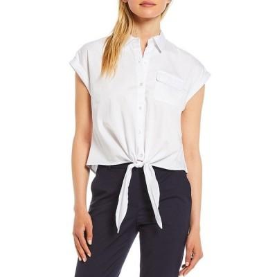 アントニオメラニー レディース シャツ トップス Blaire Poplin Cap Sleeve Button Front Blouse White