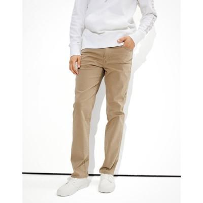 アメリカンイーグル デニムパンツ メンズ American Eagle AE Flex Soft Twill Slim Straight 5-Pocket Pant Dune Khaki