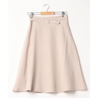 スカート 膝丈フレアスカート ベルト付き