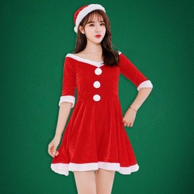 クリスマス衣装 サンタ 安い ワンピース コスプレ おしゃれ コスチューム レディース コーデ ショート ワンピース パーティードレス 新作 仮装 可愛い