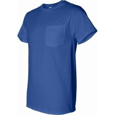 Pocket  ファッション トップス Fruit of the Loom Men Blue Size Small S Chest Pocket Crewneck Tee Shirt