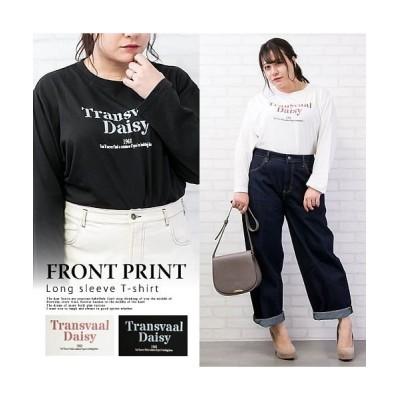【クレット(大きいサイズ)】 フロントプリント長袖Tシャツ レディース オフホワイト 3L clette