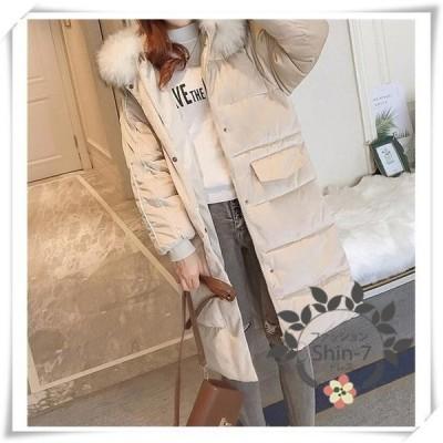 ロングコートダウン中綿ダウンコートダウンジャケットレディース冬服フード付アウター暖かい防風防寒オシャレ大きいサイズ軽量
