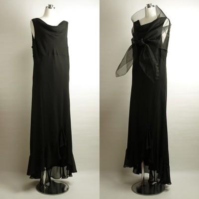 ロングドレス フォーマル 黒 19号 コーラス衣装 ノースリーブ マキシ丈 ストール付き 結婚式 発表会 ステージドレス お呼ばれドレス 声楽 C1032K19