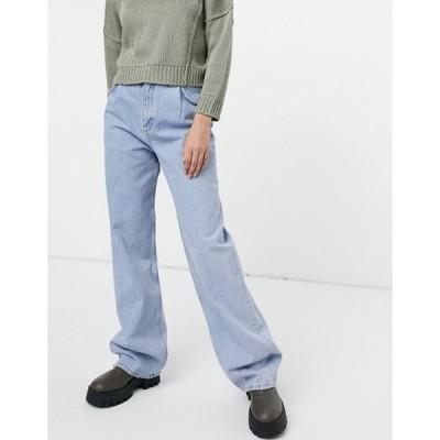 プルアンドベアー レディース デニムパンツ ボトムス Pull&Bear dad jeans in washed blue