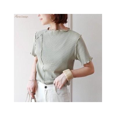 カットソー、Tシャツ半袖(柄、パターン) Tシャツ 半袖 テレコリブ  メロー