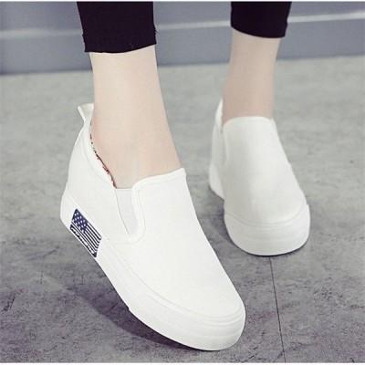 厚底スニーカーシューズレディース靴夏白花柄インヒールキャンバスカジュアルぺたんこスリッポン靴美脚疲れない歩きやすい