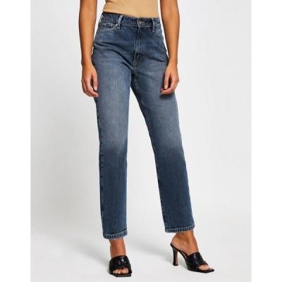 リバーアイランド レディース デニムパンツ ボトムス River Island Blair high rise straight cut jeans in blue black Blue black