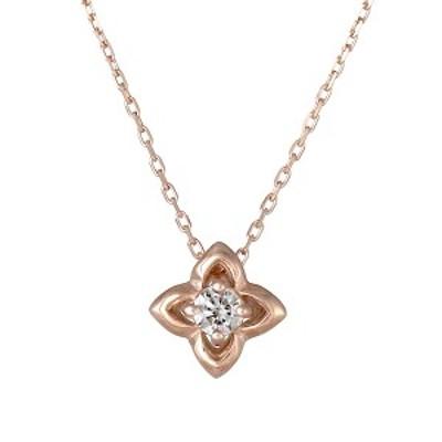 ネックレス K10ピンクゴールド ダイヤモンド フラワー お花 レディース 人気 ダイヤ プレゼント