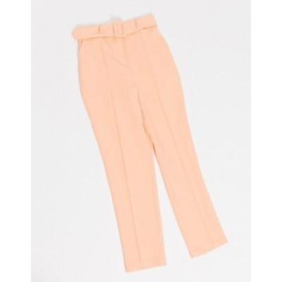 エイソス レディース カジュアルパンツ ボトムス ASOS DESIGN high waist belted cigarette pants in pastel pop Pink