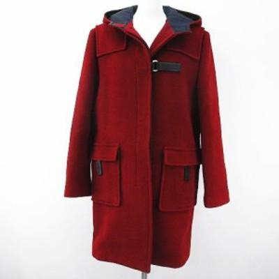 【中古】プラダ PRADA ロング ウール フードコート 46 レッド 赤系 ベルクロ イタリア製  毛 レザー レディース
