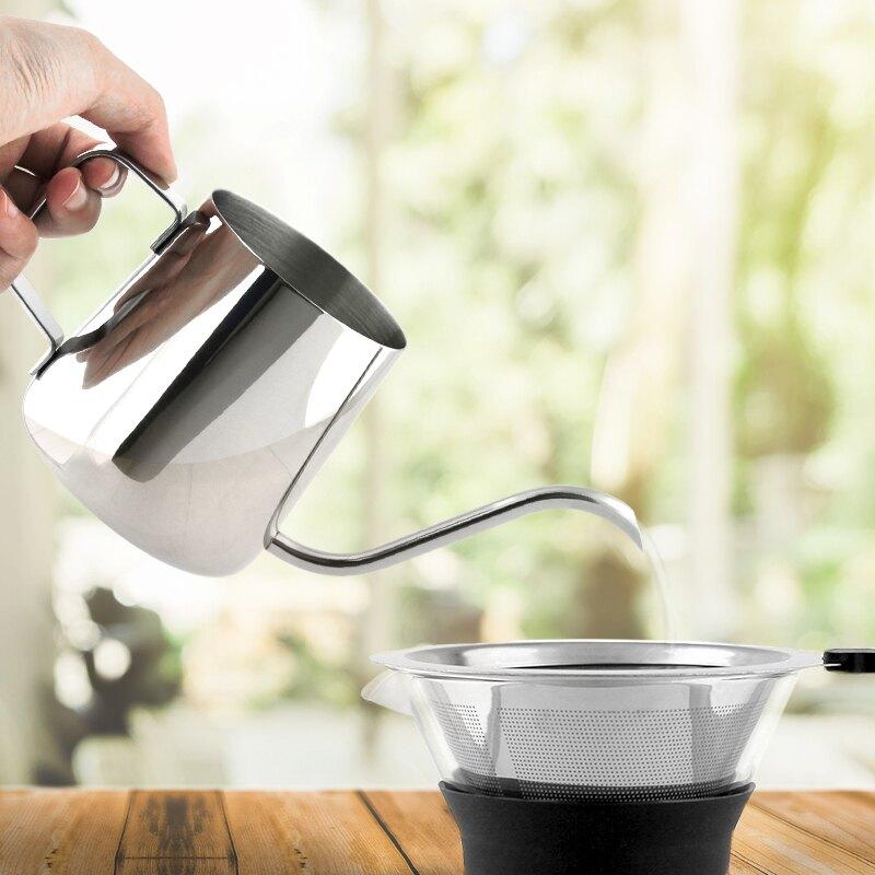 【FUJI-GRACE富士雅麗】經典手沖咖啡組-三件組 (高硼硅玻璃分享壺+不鏽鋼濾網+手沖咖啡壺)