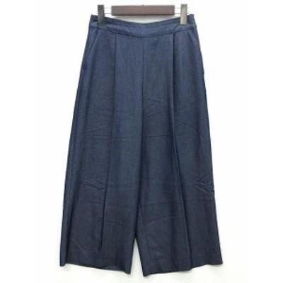 【中古】テチチ Te chichi タック ワイド パンツ センタープレス てろてろ レーヨン ネイビー 紺 M レディース