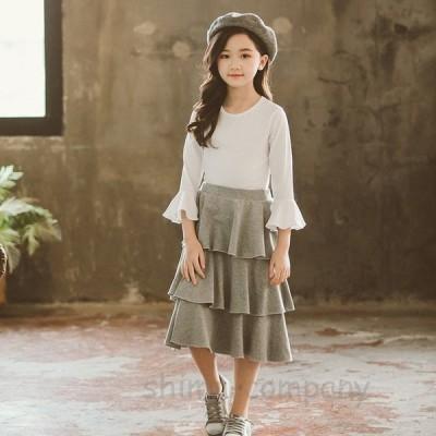韓国こども服 セットアップ 子供服 上下 2点セット長袖Tシャツ カジュアル 女の子 可愛いスタイル シンプル Tシャツ+スカート