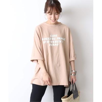 レディース フレームワーク ロングスラブロゴBIG Tシャツ◆ ベージュ フリー