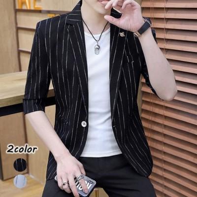 テーラードジャケット メンズ 7分袖 夏 ジャケット 薄手 サマージャケット ブラック ホワイト ストライプ スーツジャケット ブレザー 大きいサイズ