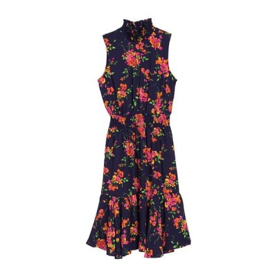 ナネットレポー レディース ワンピース トップス Floral Smocked Ruffle Midi Dress NAVPIN1673