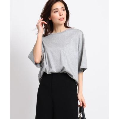 INDIVI(インディヴィ) 【Lサイズ別注/マシンウォッシュ】スムースクルーネックTシャツ