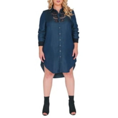 スタンダーズアンドプラクティス レディース ワンピース トップス Felicity Lace Trim Tencel Shirt Dress BLUE