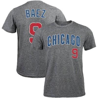 マジェスティック メンズ Tシャツ トップス Javier Baez Chicago Cubs Majestic Threads Name & Number Tri-Blend T-Shirt