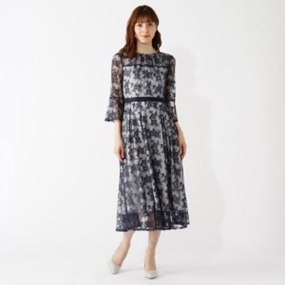 【NEW】グローブ(grove)/ウエストモチーフチュールレースドレス