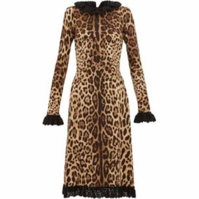 ドルチェandガッバーナ Dolce and Gabbana レディース ワンピース ワンピース・ドレス Cady crochet-trimmed leopard-print crepe dress