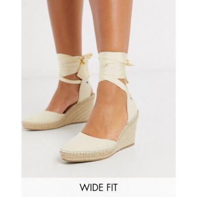 エイソス ASOS DESIGN レディース エスパドリーユ ワイドパンツ シューズ・靴 Wide Fit Time tie leg espadrille wedges in natural ナチュラル