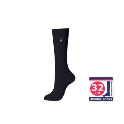 PLAYBOY スクールソックス 32cm丈 靴下 紺×ピンク  靴下 学校 学生 女子 紺 ワンポイント ひざ下 レディース 通学 女の子