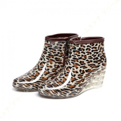 レインブーツ 雨靴 長靴 ショート丈 サイドジップ ウェッジヒール レオパード柄 花柄 ショートレインブーツ おしゃれ 美脚 豪雨 台風 レディース 靴 雨の日