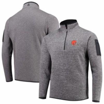 Antigua アンティグア スポーツ用品  Antigua Cleveland Browns Charcoal Fortune Quarter-Zip Pullover Jacket